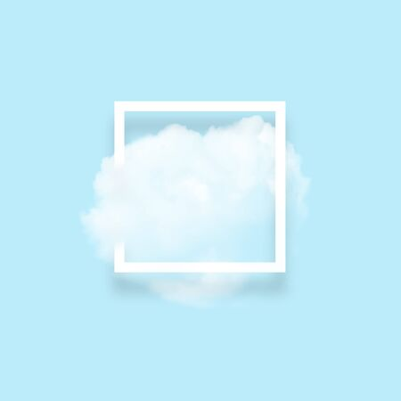 White cloud in snapshot frame illustration. Rectangular border with cotton candy isolated on baby blue color background. Creative artistic composition, stylish cloud photo on turquoise backdrop Imagens - 134922339