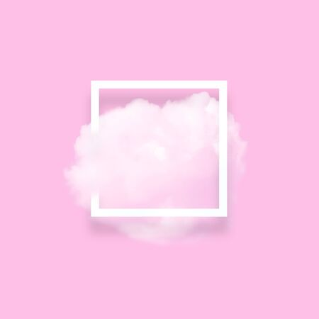 Soft sky cloud in photo frame illustration. Square white border with fluffy cotton candy isolated on blush pink color background. Creative artistic composition, minimalistic stylish design element Stok Fotoğraf