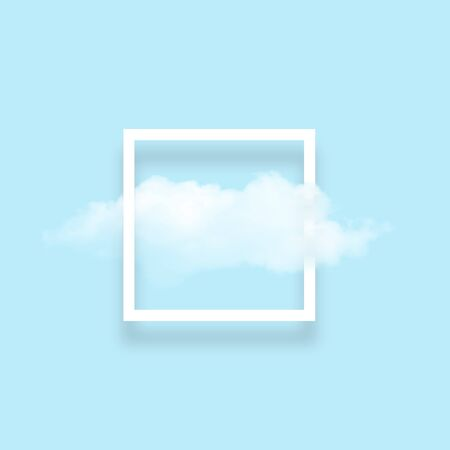 White cloud in snapshot frame illustration. Rectangular border with cotton candy isolated on baby blue color background. Creative artistic composition, stylish cloud photo on turquoise backdrop