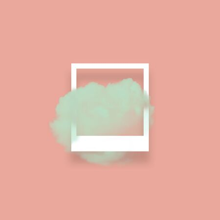 Green sky cloud in photo frame illustration. Square white border with fluffy cotton candy isolated on blush pink color background. Creative artistic composition, minimalistic stylish design element
