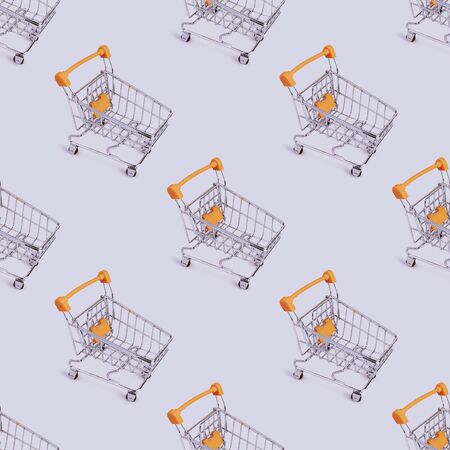 Seamless pattern of shopping cart. Grocery shopping and sale concept. Black friday, online shopping and store concept. Sale discount. Background with copyspace. Creative design. Stock photography.
