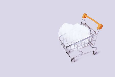 Banner with shopping cart and cloud. Grocery shopping and sale concept. Black friday, online shopping and store concept. Sale discount. Background with copyspace. Creative design. Stock photography. Stok Fotoğraf