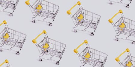Pattern of shopping cart. Grocery shopping and sale concept. Black friday, online shopping and store concept. Sale discount. Business background with copyspace. Creative design. Stock photography.