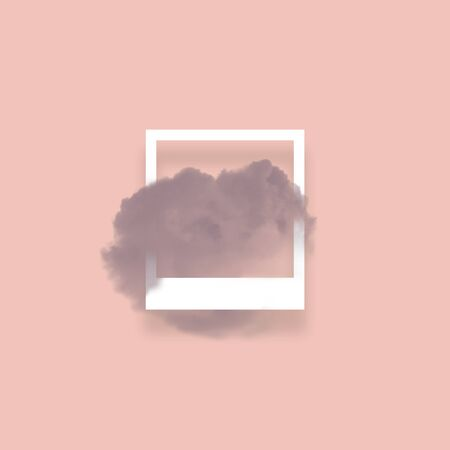 Dark sky cloud in photo frame illustration. Square white border with fluffy cotton candy isolated on blush pink color background. Creative artistic composition, minimalistic stylish design element Stok Fotoğraf