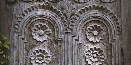 Banner of wooden window platband with beautiful ornament. Stock photography. Nature background. Stok Fotoğraf