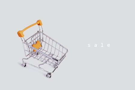 Banner with shopping cart and text. Grocery shopping and sale concept. Black friday, online shopping and store concept. Sale discount. Business background with copyspace. Stock photography.
