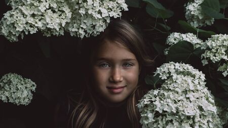 Cute little girl in blooming hydrangeas. Person and flowers on natural background with sushine. Child enjoying bouquet outside. Going to park, forest in summer and spring. Connection with nature idea Imagens
