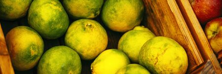 Banner of exotic summer diet. Tropical organic fruit in crate. Tangerine delivery. Autumn harvest. Stock photo.