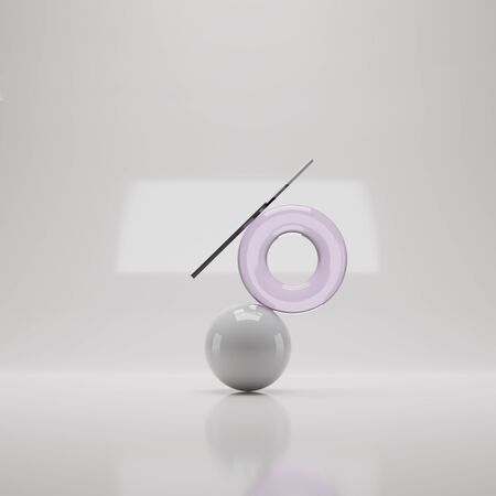 3d render of ball, torus and stick. Minimalistic background with objects. Balancing composition from figures Stock fotó
