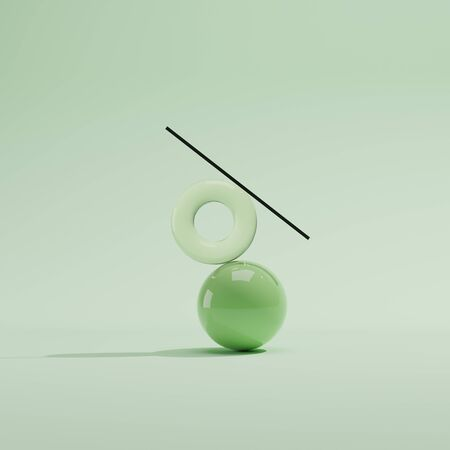 Ball, torus and stick. Minimalistic background with green objects. Balancing composition from figures.