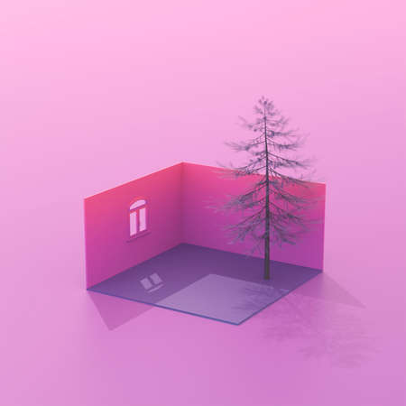 3d rendering composition with house and tree. Imagens