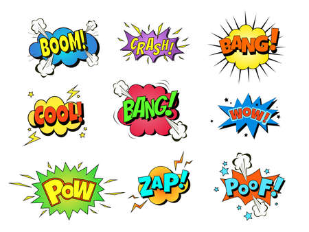 Collection of nine multicolored comic sound Effects. Vector cartoon explosions with different emotions Vektoros illusztráció