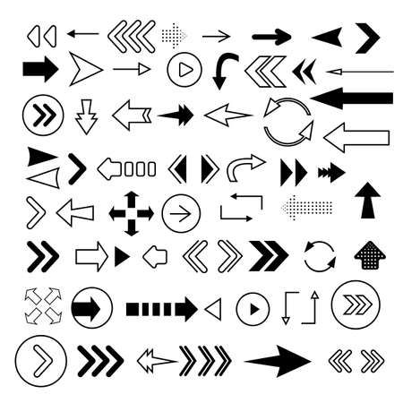 Arrows big black set icons. Arrow icon. Arrow vector collection. Modern flat arrows isolated on white background.