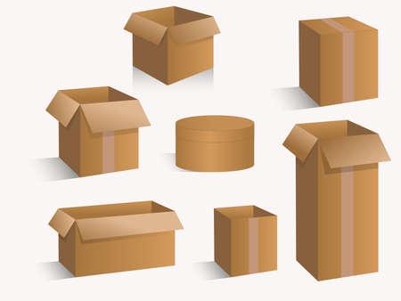 Cardboard box set isolated on white background. Realistic illustration of 10 cardboard box mockups for web.