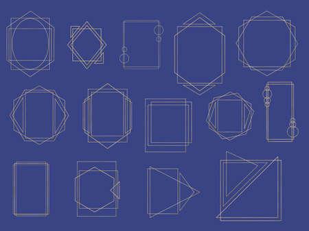 Golden geometric frame. Luxury wedding invitation polyhedron art deco elements, modern border shape. Realistic 3d Detailed Golden Polygonal Frames