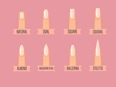 Different shapes of nails. Types of fashion Different nail shapes. Various manicure