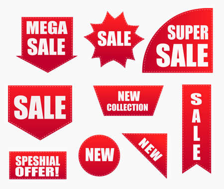 Price tags vector collection. Ribbon sale banners.