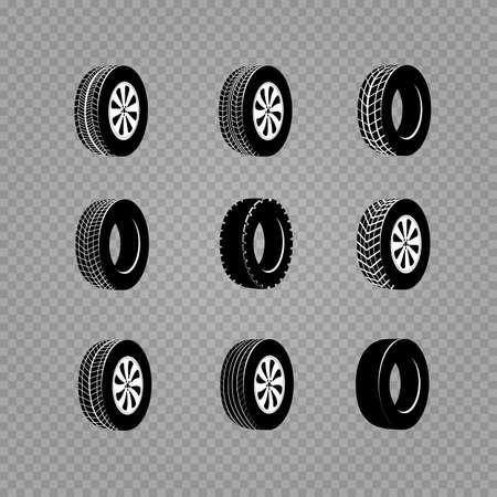 vehicle wheel and hubcap set. Beautiful vector illustration of car tires images useful for icon and logotype design .