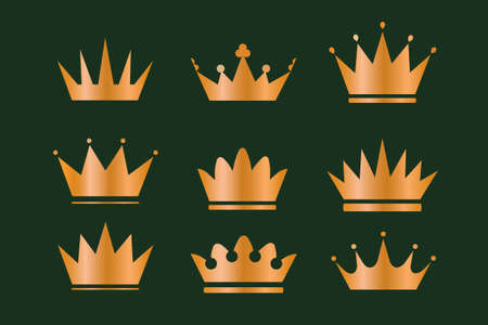 Wunderschöne goldene Kränze mit Weizenähren, Eichen-Lorbeer-Olivenzweigen und Königskronen. Set mit geometrischer Vintage-Krone