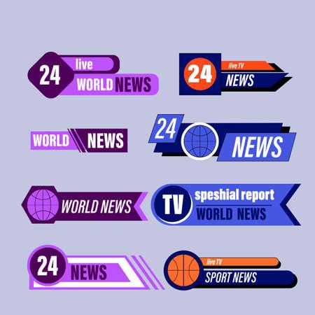 Big set of news bar isolated on blue background. Live, sport, fake, online news etc.