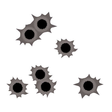 Gun Bullet Holes In Metal Wall Vector. Set of bullet holes. Isolated on transparent background. Stock Illustratie