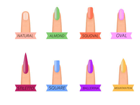 Nail shape icons. Types of fashion nail shapes. Types of fashion bright colour nail shapes collection. Fashion nails type trends. 向量圖像