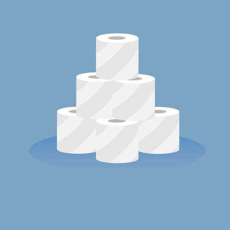 Rolls of toilet paper on a blue background. Stop panic.Vector illustration.