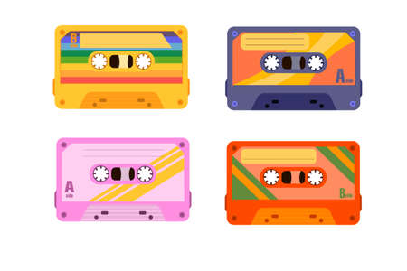 A collection of four colorful plastic audio cassettes. Set of various colored music tapes. old technology, realistic retro design.