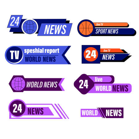 TV broadcasting banner or lower bar design. breaking news banners. television interface bar tv graphic sport reporters names.