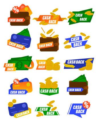 Cash back icons set. Colorful cashback banner collection. Money refund signs. Set of cashback badge for shop, tag label cash back after sale illustration