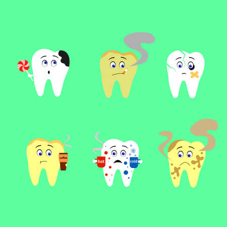 Tooth decay destroyed. Cute cartoon teeth characters vector. Healthy and unhealthy tooth.