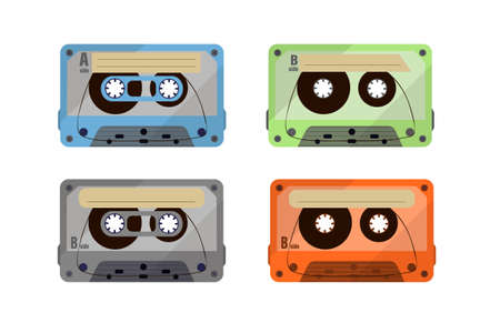 Vintage music cassettes.  Vintage music, 1980s pop songs, stereo cassettes. Ilustração