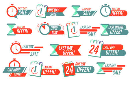 Sale countdown badges. one day sales and 24 hour sale promo stickers. Sale timer badges. Last minute banner, one day sales and hot offer stickers.