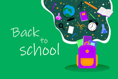 Back to school sale design with colorful pencil, brush and other school items on green background. Vector Illustration with Special Offer Typography Elements for Coupon, Voucher, Banner, Flyer.