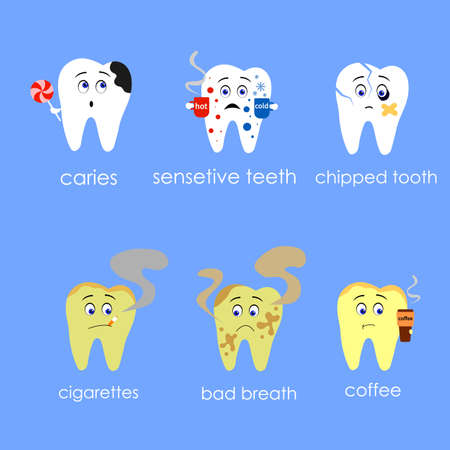 Decay tooth or dental caries - teeth cartoon vector flat style cute character for design.