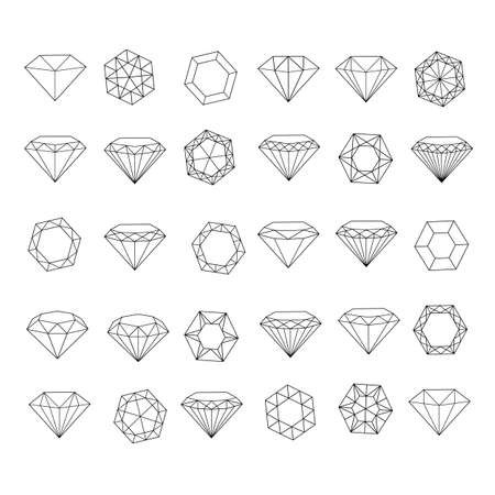 Vector set of diamond design elements - cutting samples.  イラスト・ベクター素材