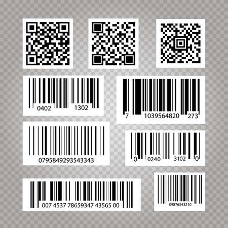 Business barcodes and QR codes vector set. Vector illustration of Standard Barcodes.