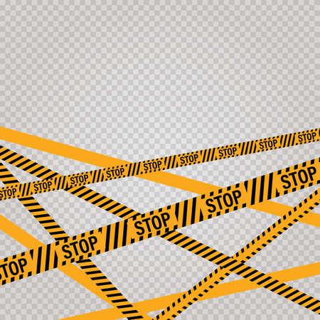 Crime line tape. Police danger caution vector yellow barrier. Vector illustration.