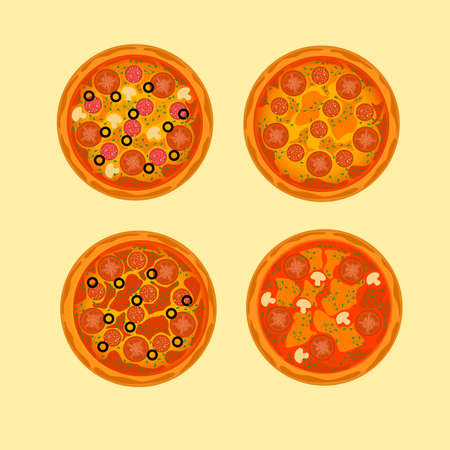 Fresh delicious pizza vector design illustration isolated on yellow background.