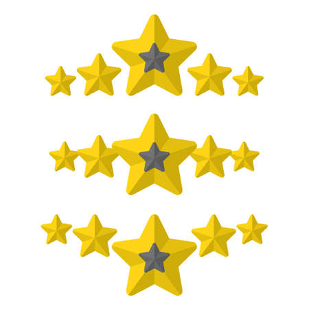 Ratings from five stars in different styles. Five stars customer product rating review