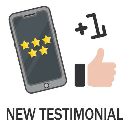 Review rating bubble speeches on mobile phone five stars. Online feedback reputation quality customer review  Illustration