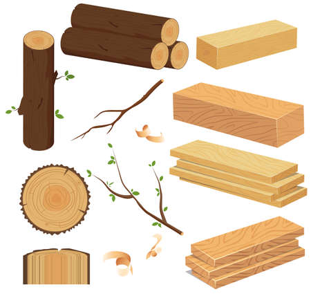 Wood industry raw material and production samples. Vector illustration of Chopped Firewood and Natural Timber.