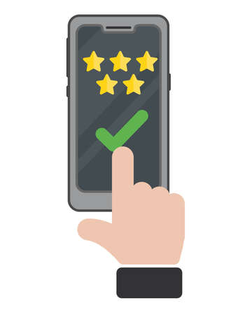 Review rating bubble speeches on mobile phone. Feedback concept with a hand. Select quality with a finger review or rate the helpdesk assistance provided.