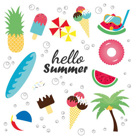 Hello Summer banner.Vector illustration with discount offer. Concept of seasonal vacation in tropical country.