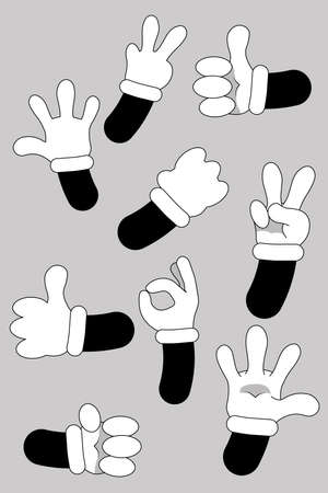 Cartoon hands. animated hands show different gestures. Cute leg in boots and gloved hand collection 일러스트