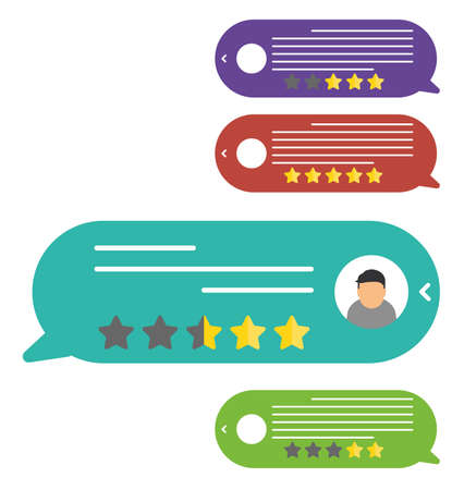 Customer reviews. View speech bubble ratings. User reviews flat style. Reviews stars with good and bad rate and text