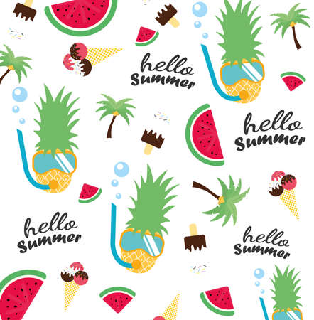 Hello summer 2020 banner with hand drawn letters on a white background with watermelon, ice cream, sunglasses. Vector illustration.