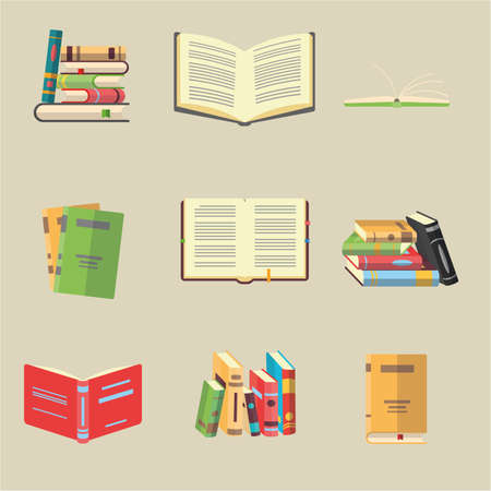 Ensemble d'icônes dessinées à la main sur le thème de la littérature. Livres en pile, ouverts, en groupe, fermés, sur une étagère. Symboles de l'apprentissage en ligne. Vecteurs