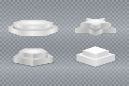Winner podium set. White 3d round and square two-stepped pedestals.  pedestal and platform, stand stage, cylinder and square