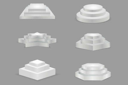 Round and square 3d empty podium with steps. Showroom pedestals in form star, round, square.